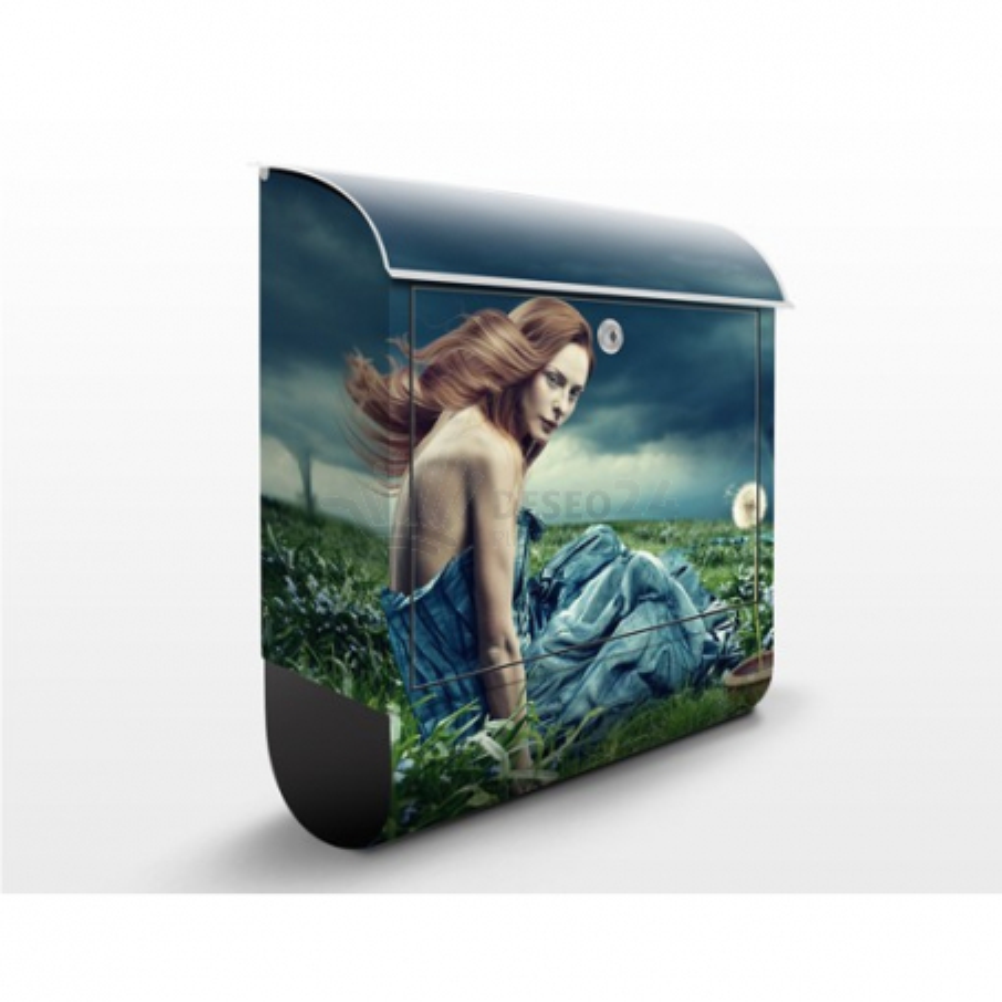 Poštová schránka s potlačou Dievča v búrke