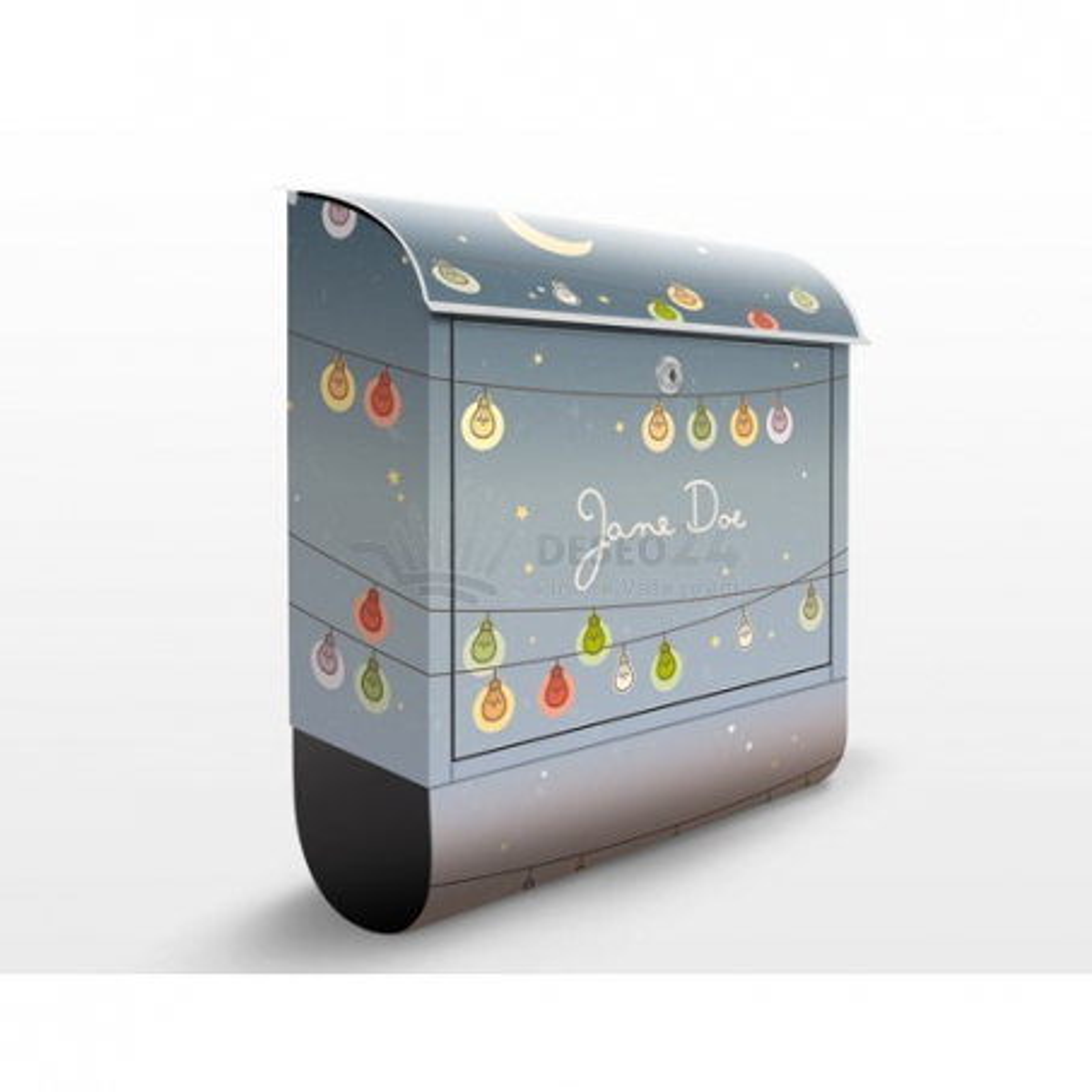 Poštová schránka s potlačou Vianočné žiarovky (EK423) a vlastným textom