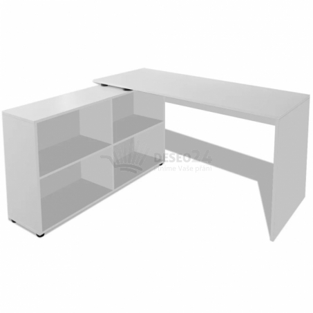 Rohový kancelářský stůl, 4 police, bílý [243060]