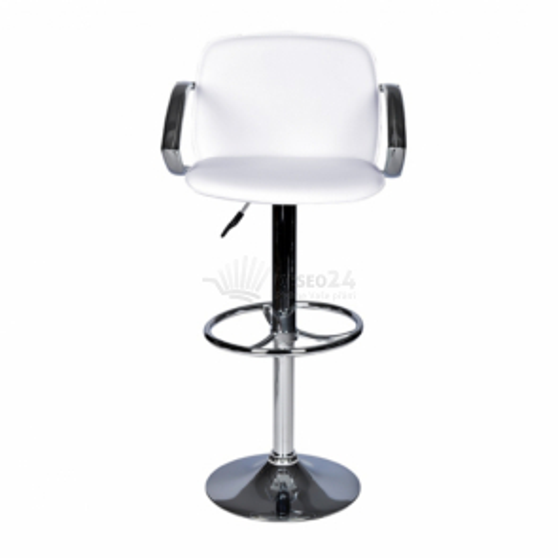barová stolička s operadlom - biela farba