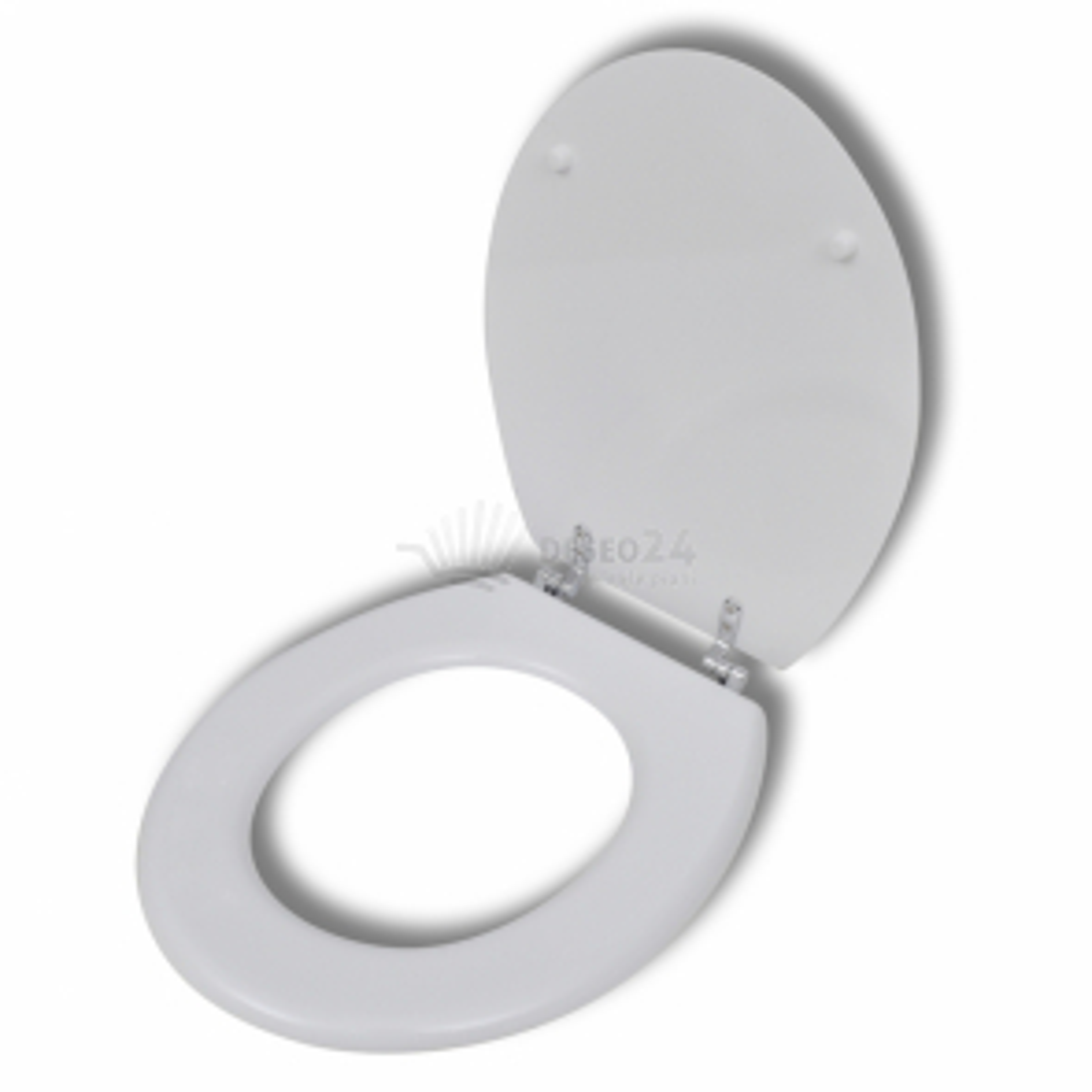 Biele WC sedadlo z MDF s pevným vekom a jednoduchým dizajnom
