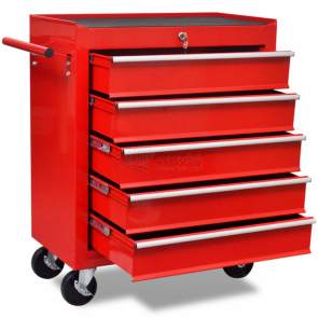 Červený dielenský vozík na náradie s 5 zásuvkami