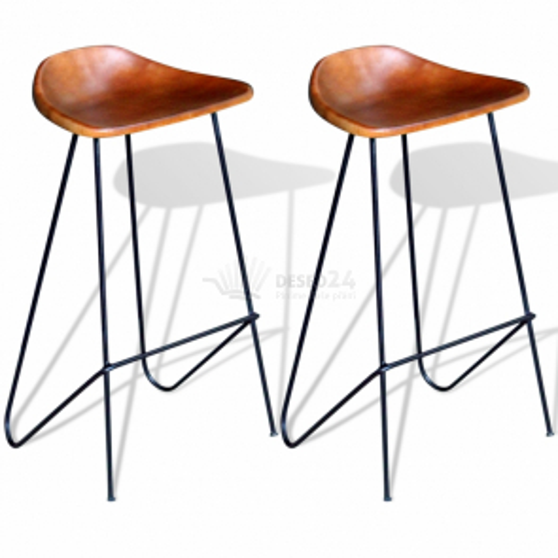 Kožená barová stolička, 2 ks, hnedá