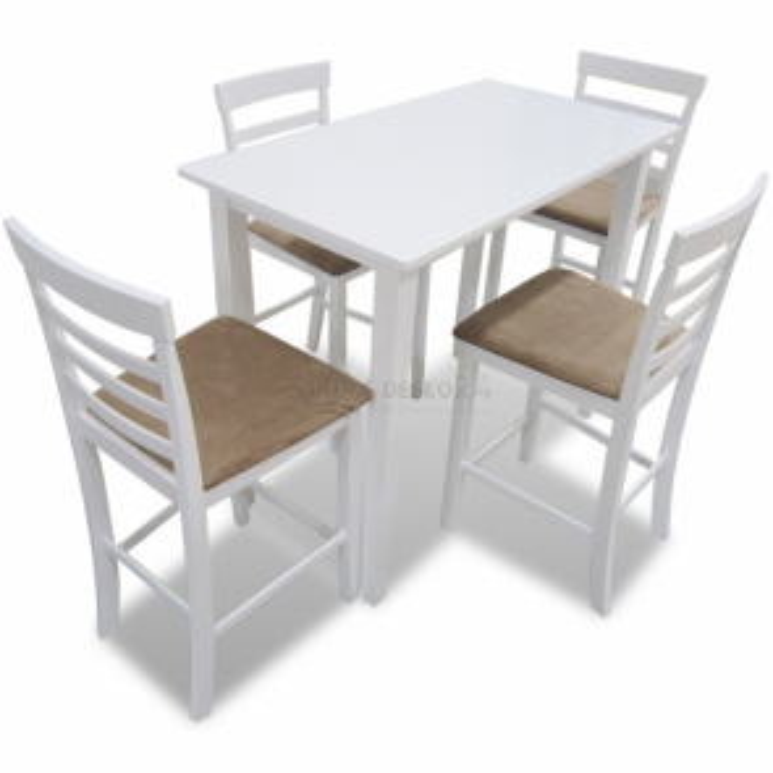 Biely drevený barový stôl a 4 barové stoličky