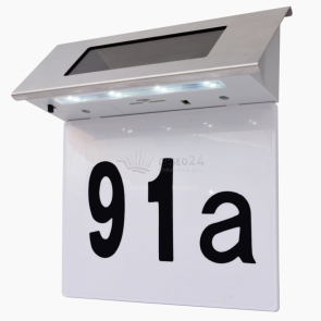 Solárne LED osvetlené číslo domu, nerezová oceľ