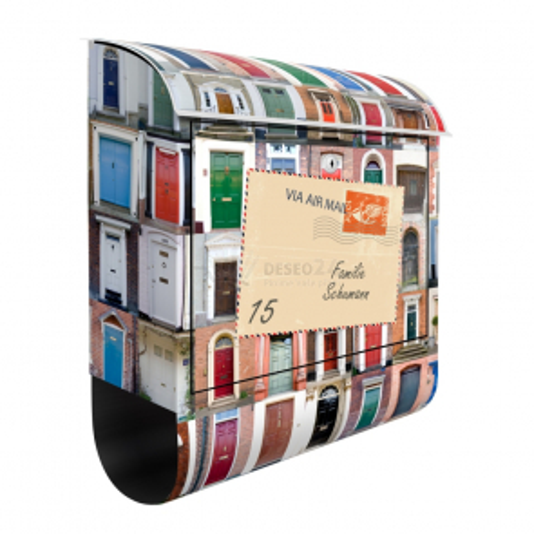 Poštovní schránka s potiskem 100 dveří a vlastním textem
