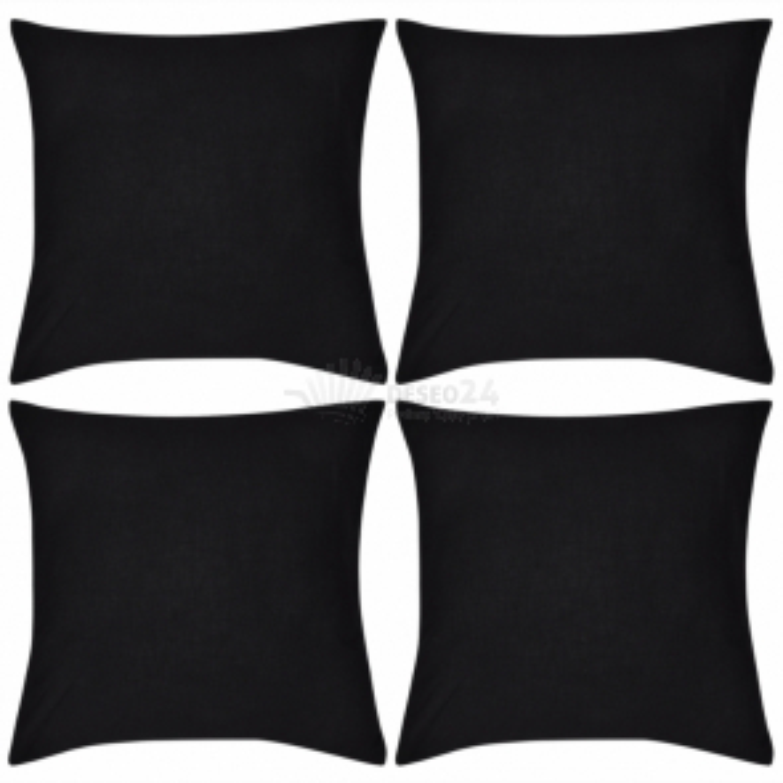 Černý povlak na polštář, 80 x 80 cm, bavlna, 4 ks