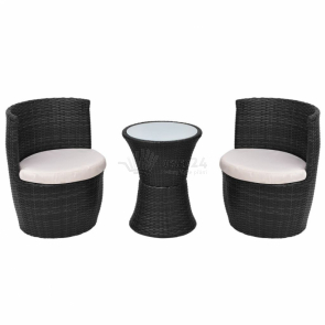 5dílná zahradní sedací souprava, černý polyratan [43112]