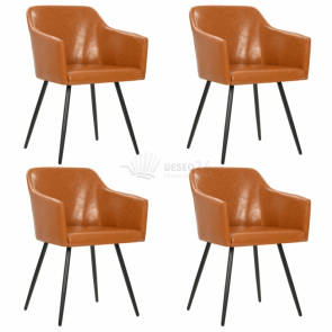 Jídelní židle 4 ks hnědé čalounění z umělé kůže [276079]