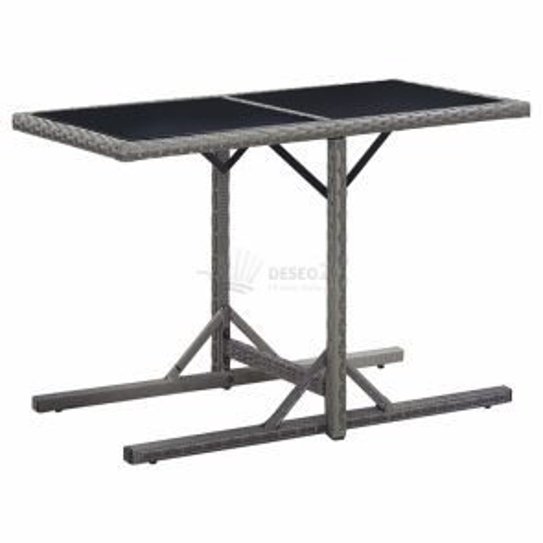 vidaXL Zahradní stůl antracitový 110 x 53 x 72 cm sklo a polyratan [46455]