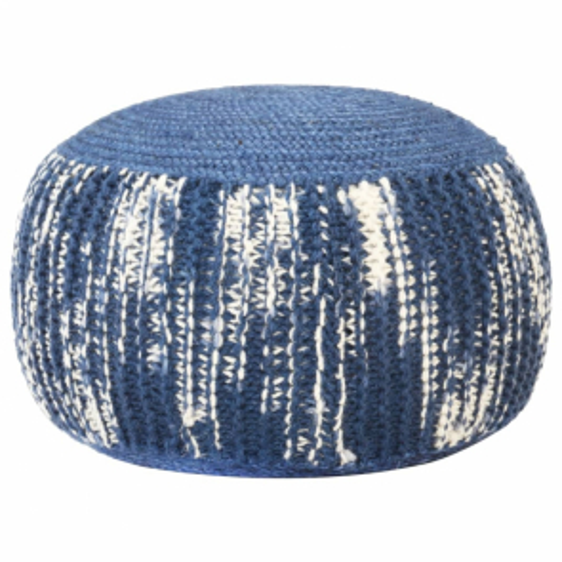 vidaXL Ručně pletený sedací puf modro-bílý 50 x 35 cm vlna [287606]