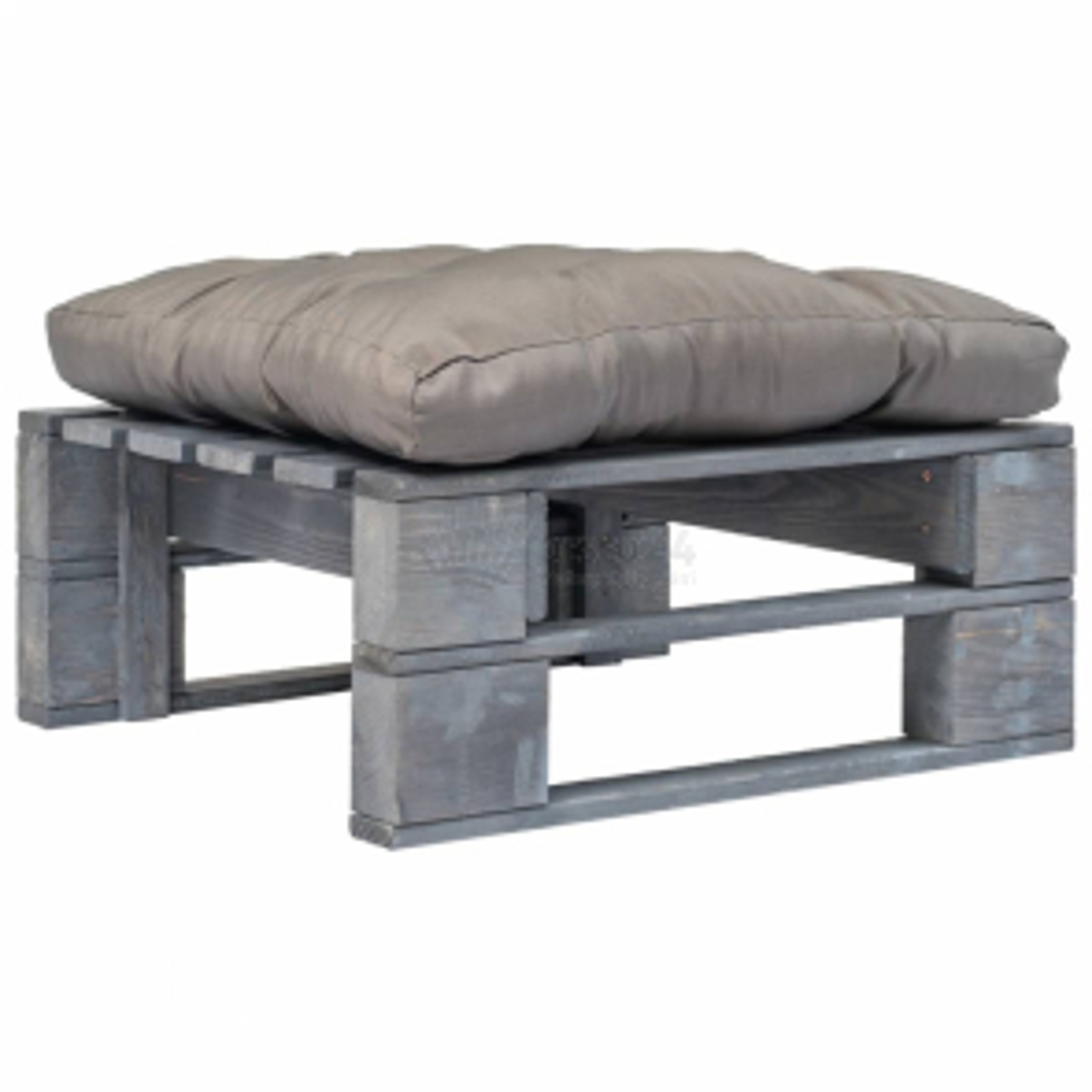 vidaXL Zahradní taburet z palet s šedou poduškou šedý dřevo [275282]
